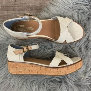 Toms Harper Low Wedge Sandal White Canvas NWOT